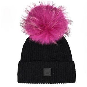 7e1f3c1c3 SAM FUR BEANIE HAT BLACK/HOT PINK Boutique